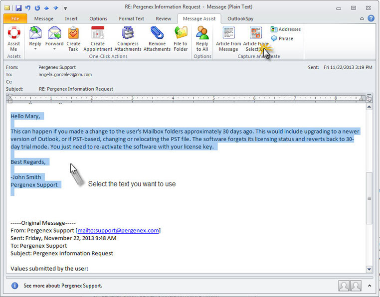 Message Assist for Outlook, Email Tools Software Screenshot