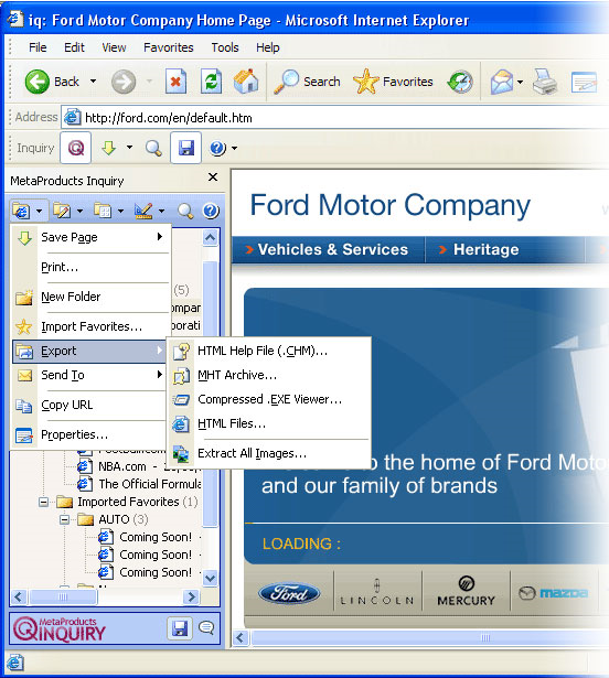 MetaProducts Inquiry Standard Edition, Internet Software Screenshot