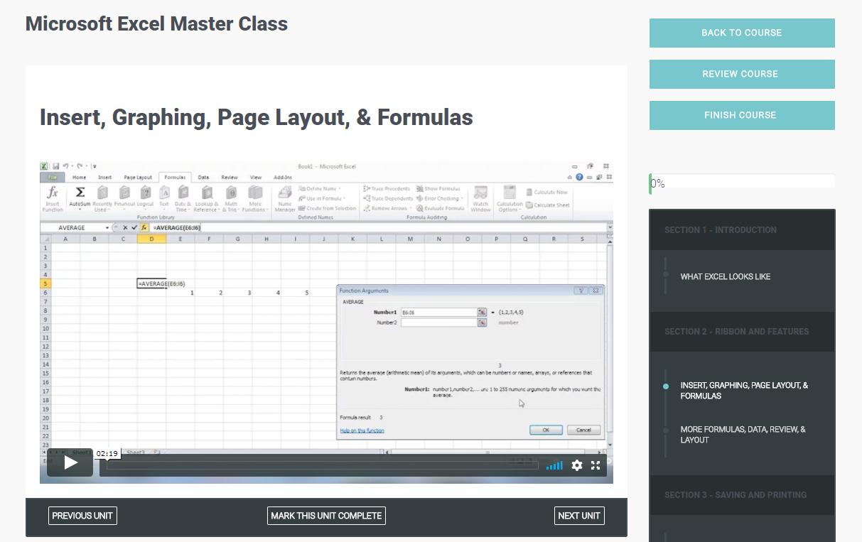 Microsoft Excel Master Class Screenshot
