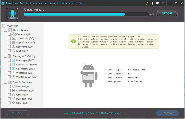 MiniTool Mobile Recovery for Android, Recovery Software Screenshot