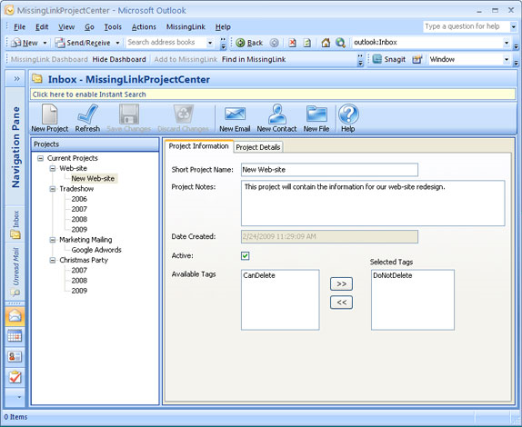 MissingLink Project Management Screenshot