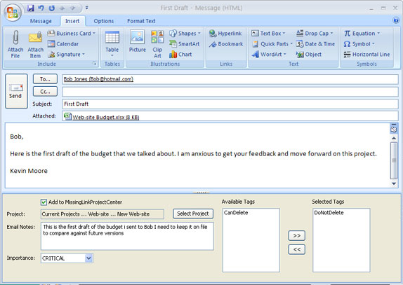 Productivity Software, MissingLink Project Management Screenshot