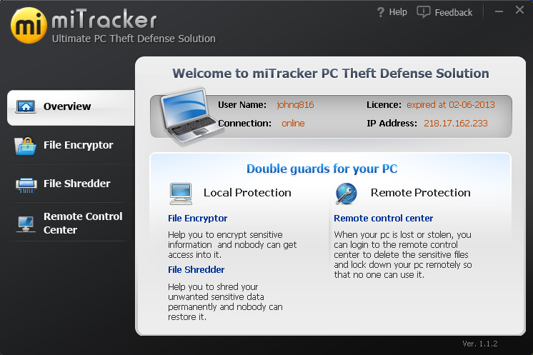 miTracker Anti Theft 3 Years License Screenshot