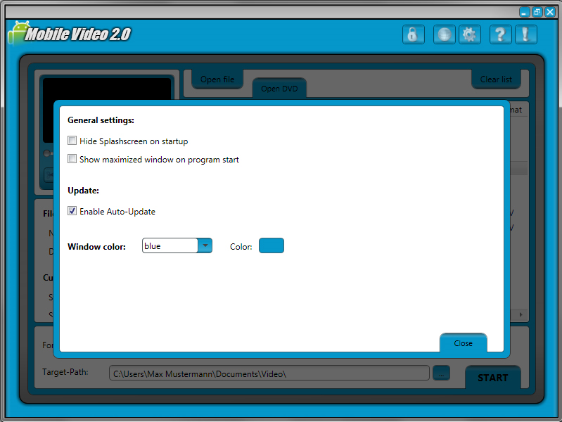 Mobile Video 2, Video Software Screenshot