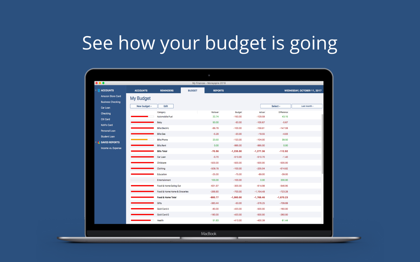 Moneyspire 2018, Business & Finance Software Screenshot