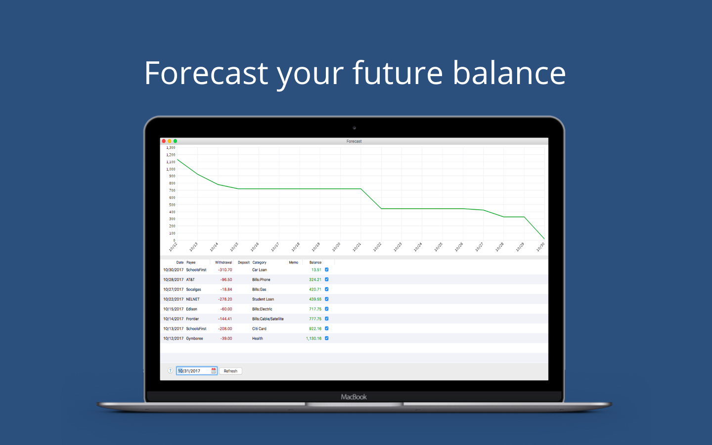 Moneyspire 2018, Finance Software Screenshot