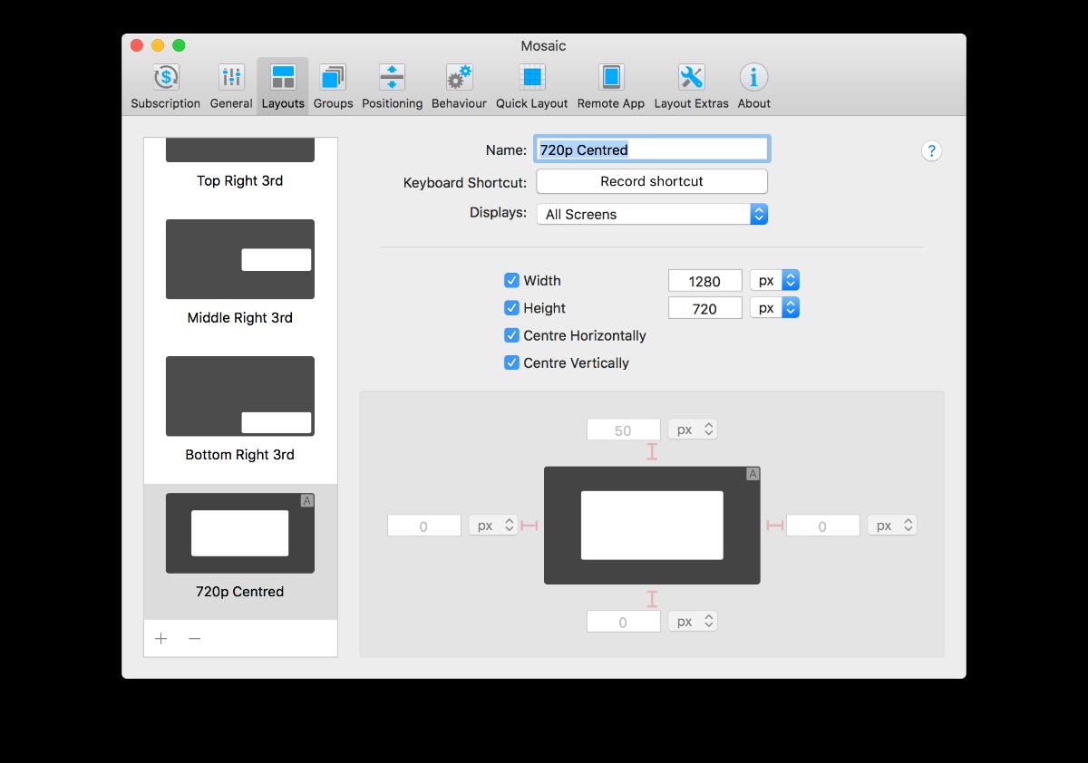 Mosaic. Professional Window Management, Productivity Software Screenshot
