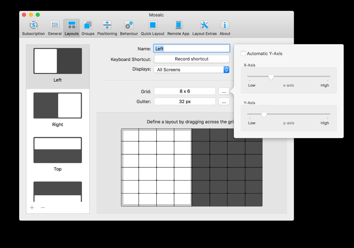 Mosaic. Professional Window Management, Organization Software Screenshot