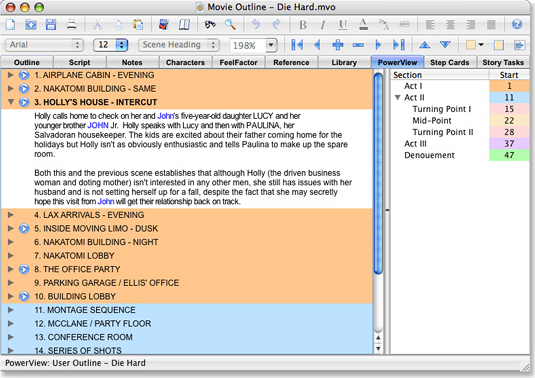Movie Outline 3, Word Processing Software Screenshot