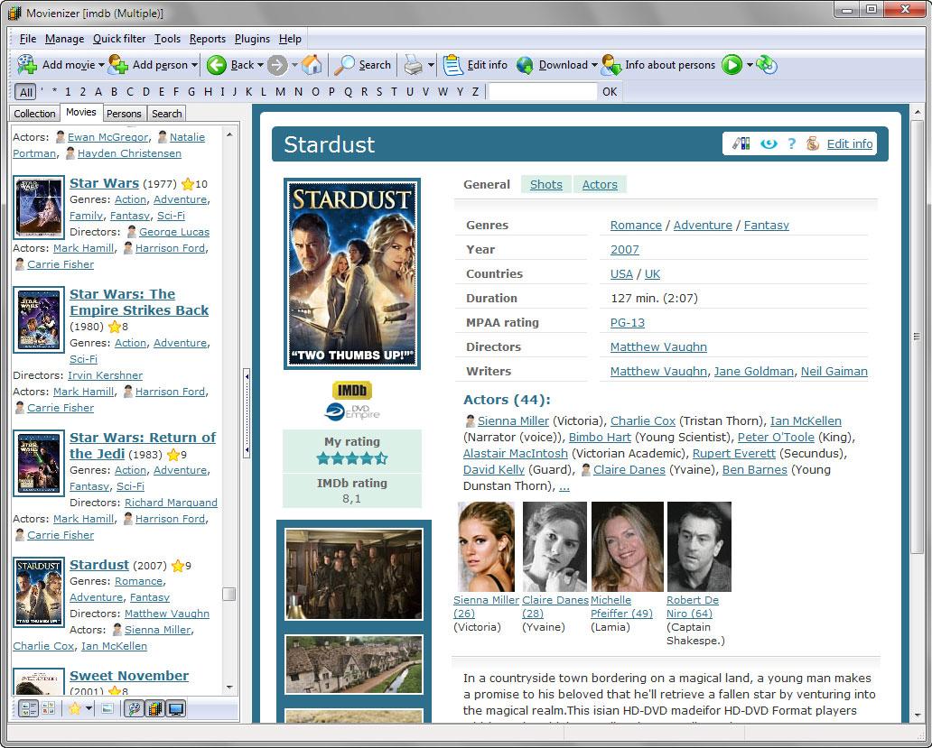 Movienizer, Hobby, Educational & Fun Software Screenshot