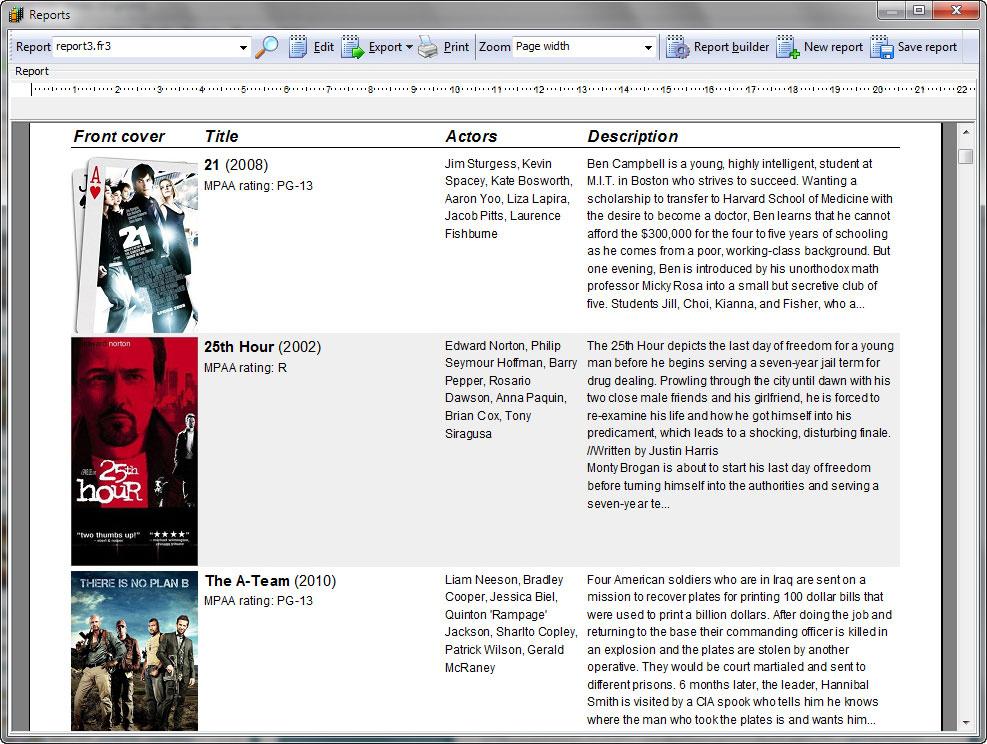 Cataloging Software, Movienizer Screenshot