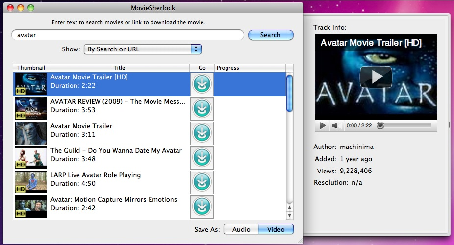 MovieSherlock Full, Online Video Software Screenshot