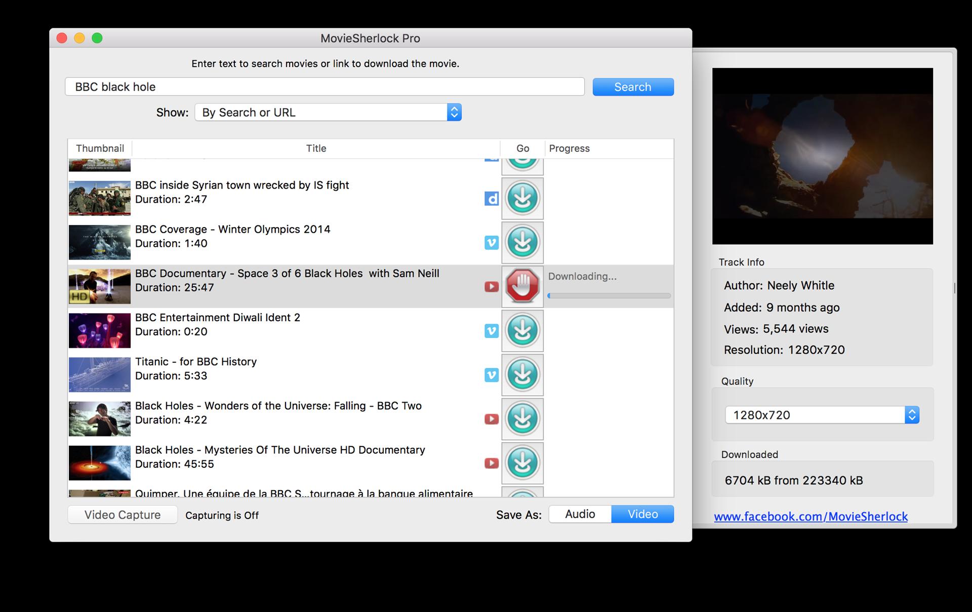 MovieSherlock Pro, Online Video Software Screenshot