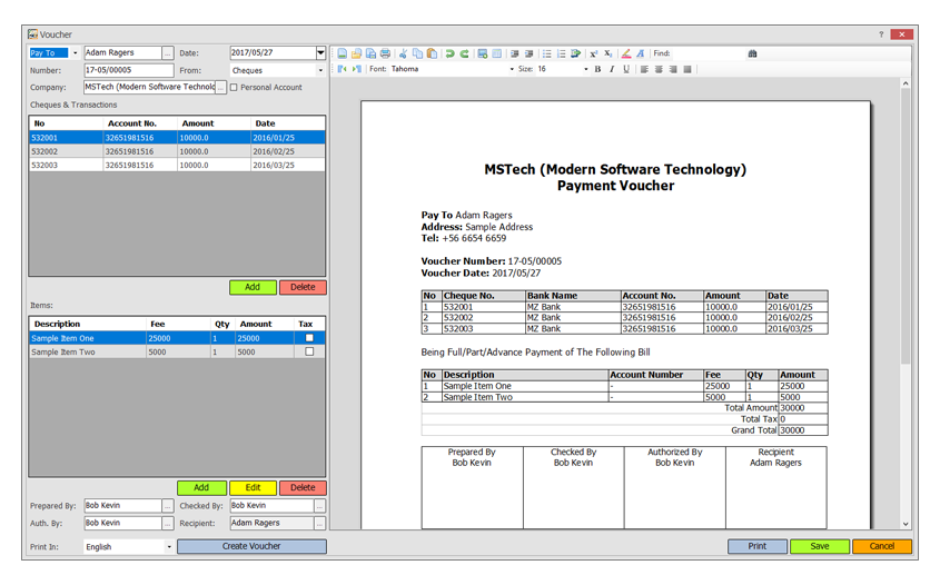 MSTech Cheque Print, Business & Finance Software Screenshot