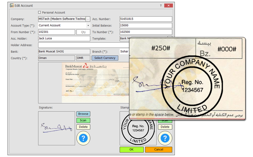 Accounting Software, MSTech Cheque Print Screenshot