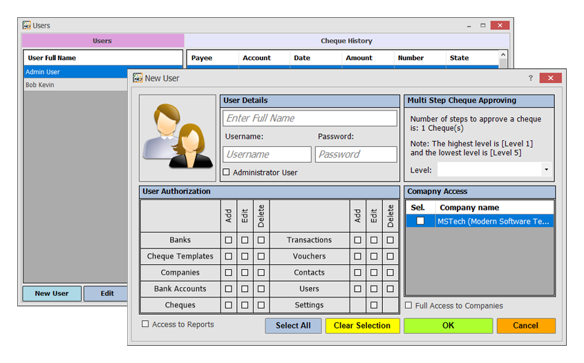 MSTech Cheque Print, Accounting Software Screenshot