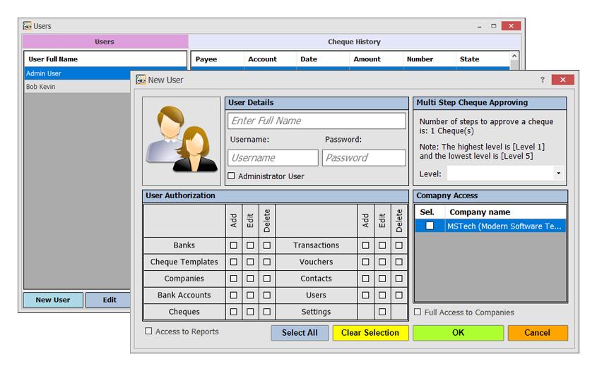 MSTech Cheque Print, Accounting Software Screenshot