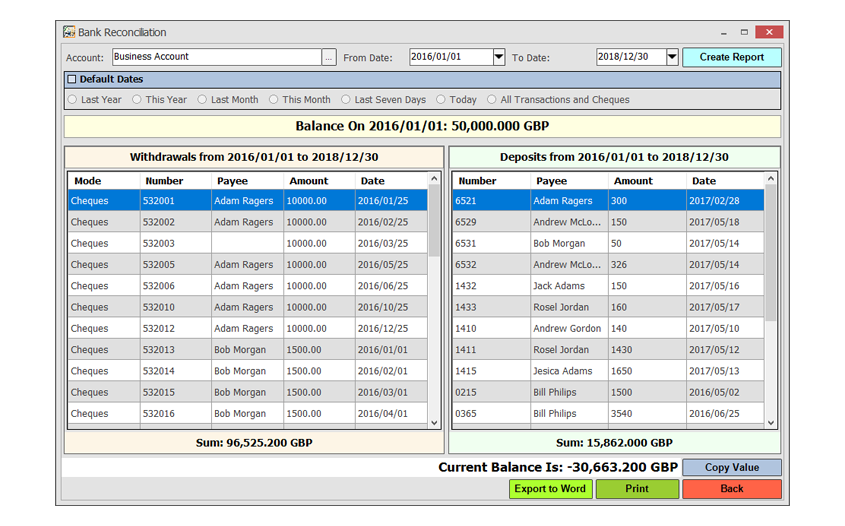 Accounting Software Screenshot