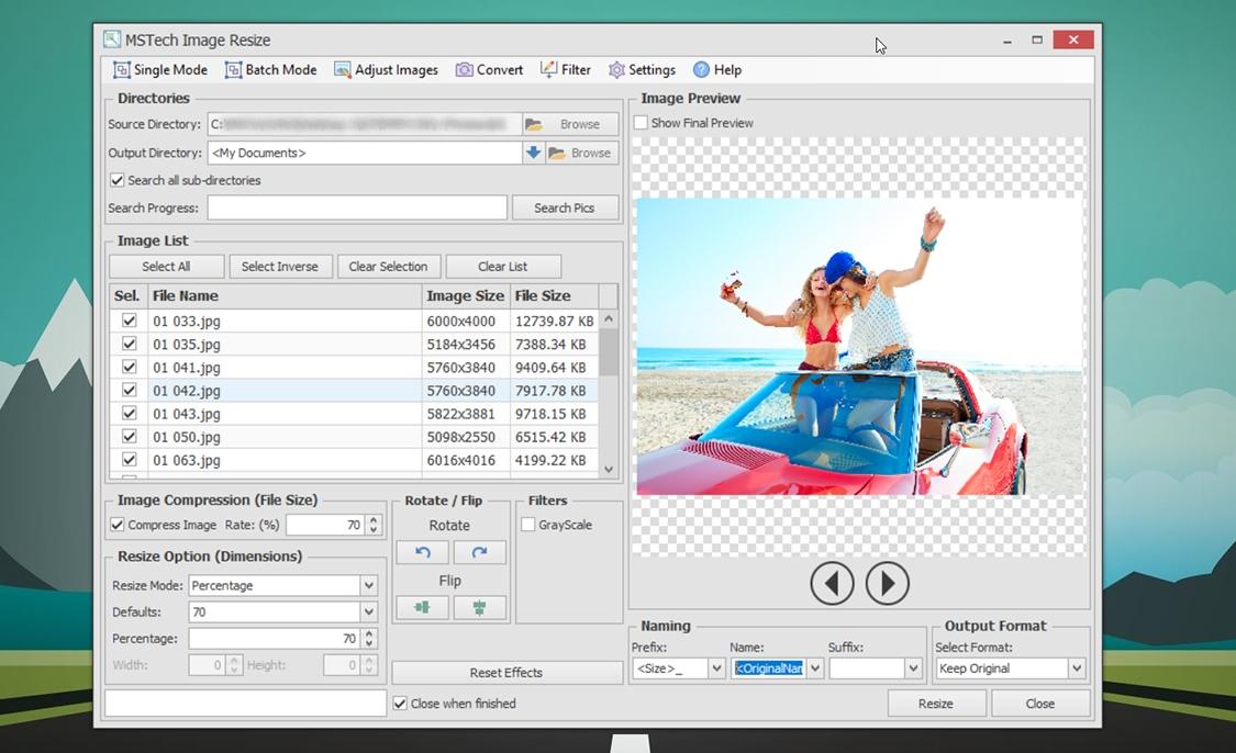 MSTech Image Resize Basic, PC Optimization Software Screenshot
