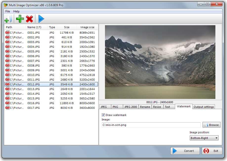 Multi Image Optimizer, Batch Image Software Screenshot