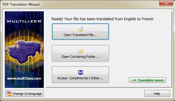 Multilizer PDF Translator, PDF Utilities Software Screenshot