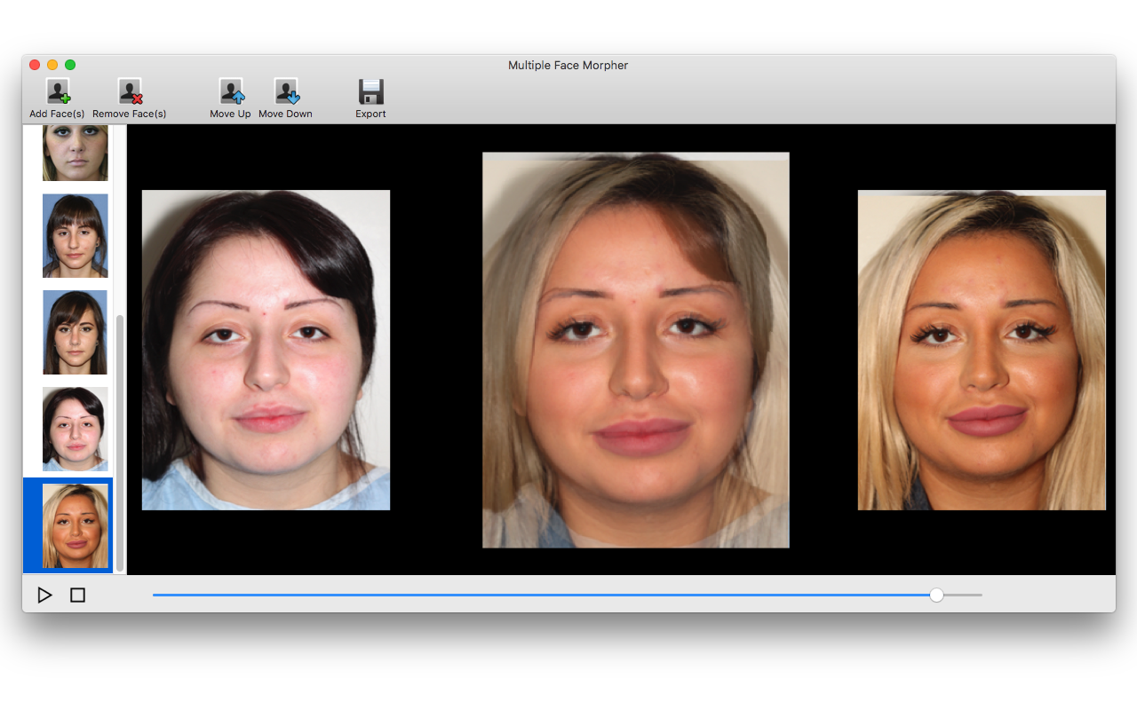 Multiple Face Morpher, Morphing Software Screenshot