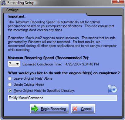 Audio Conversion Software, MuvAudio2 Screenshot