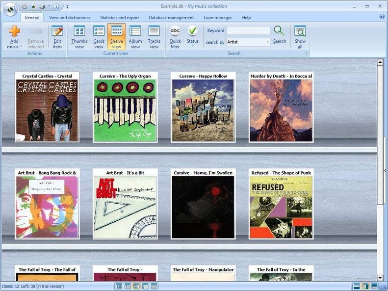 My Music Collection, Cataloging Software Screenshot