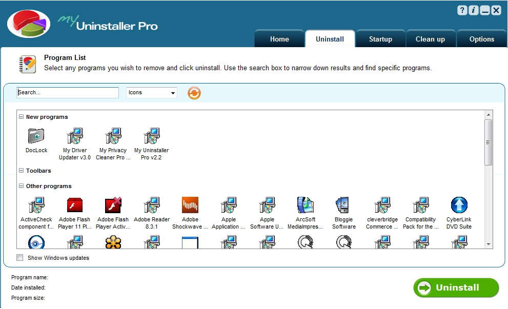 My Uninstaller Pro, Uninstallation Software Screenshot