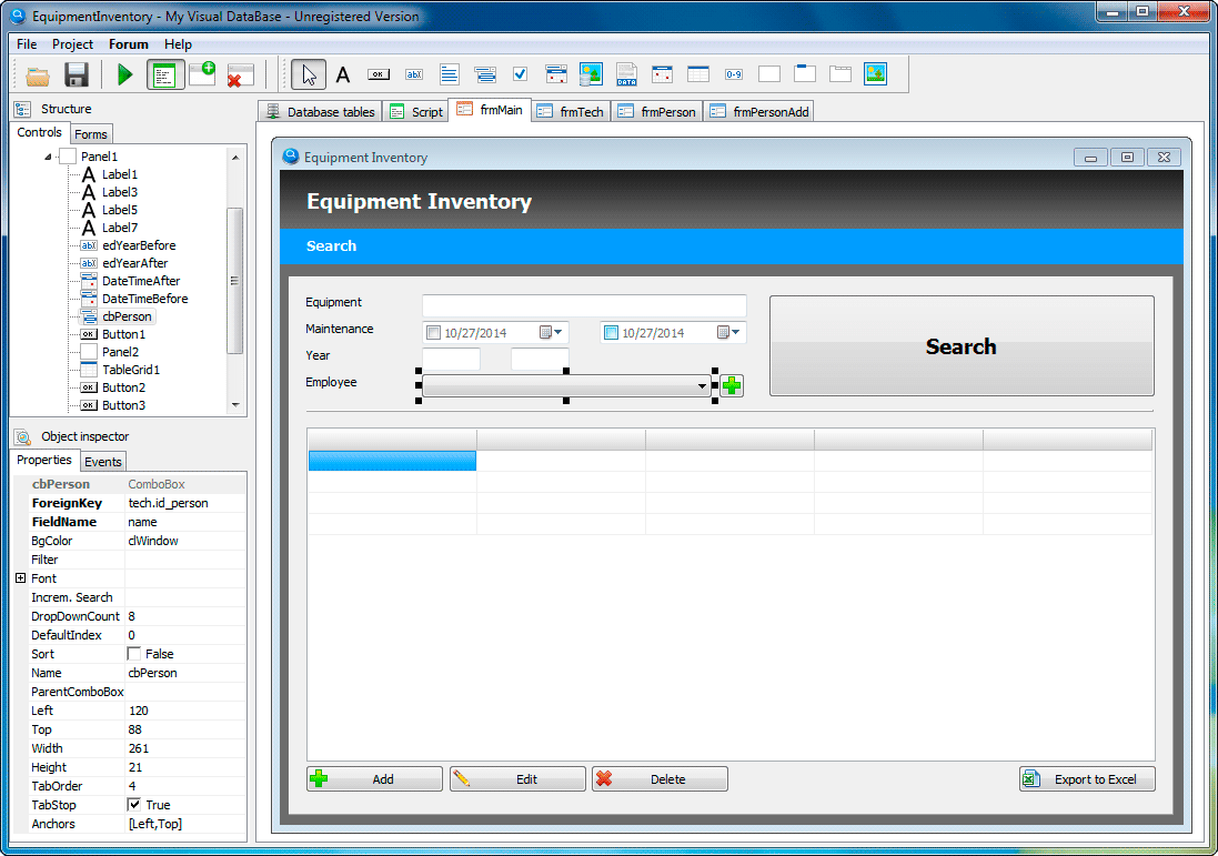 My Visual Database, Database Software Screenshot