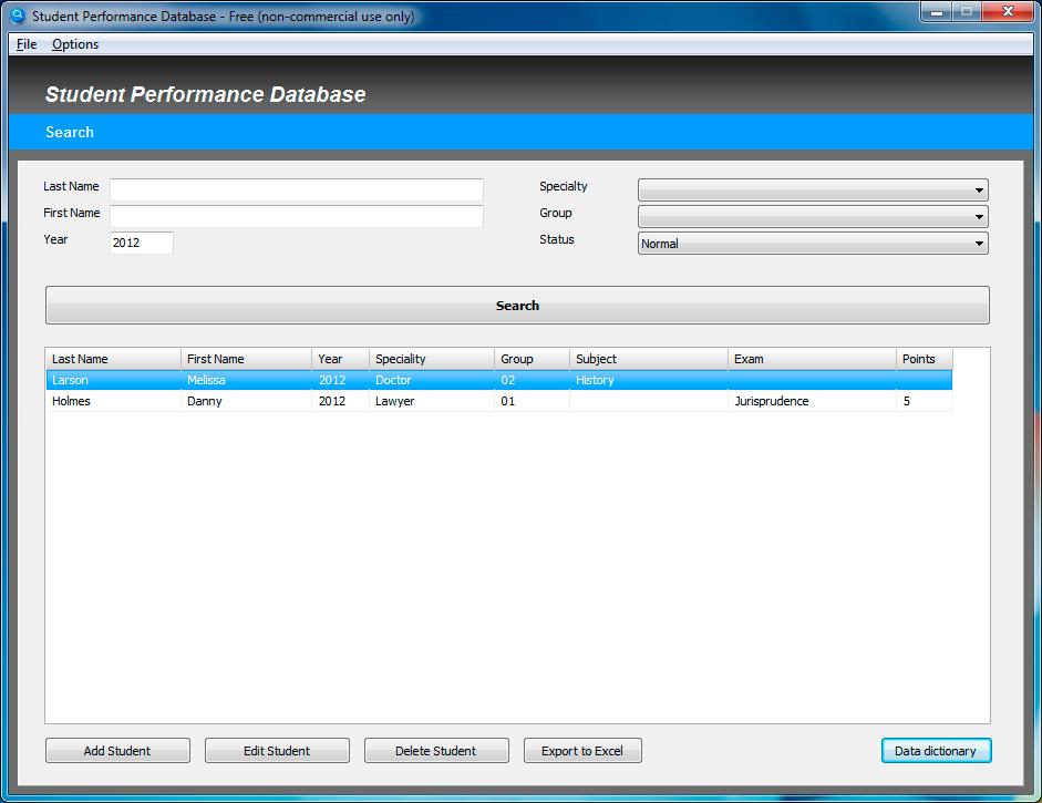 Database Software, My Visual Database Screenshot