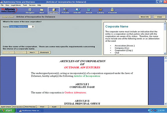 Reference Software, MyAttorney Home & Business Screenshot