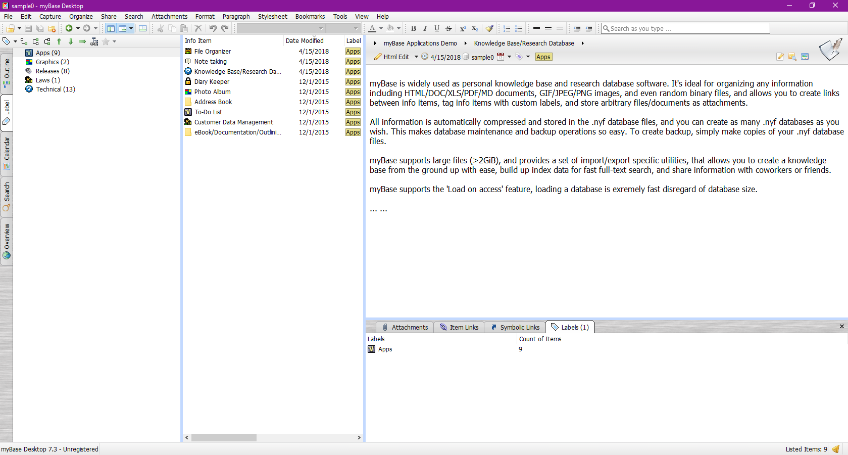 myBase Desktop 7.x, Notes Software Screenshot