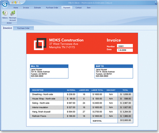 MyInvoices & Estimates Deluxe 9, Business & Finance Software Screenshot