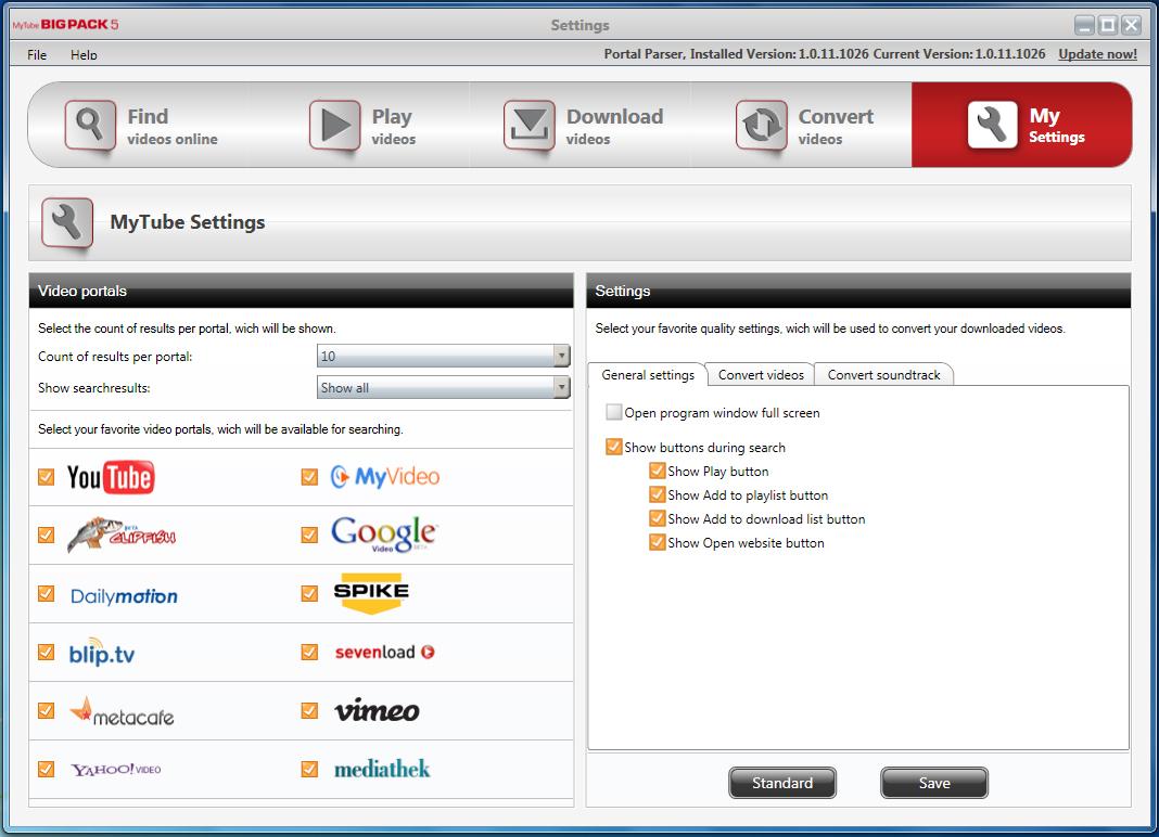 YouTube Downloader Software, MyTube BigPack Screenshot