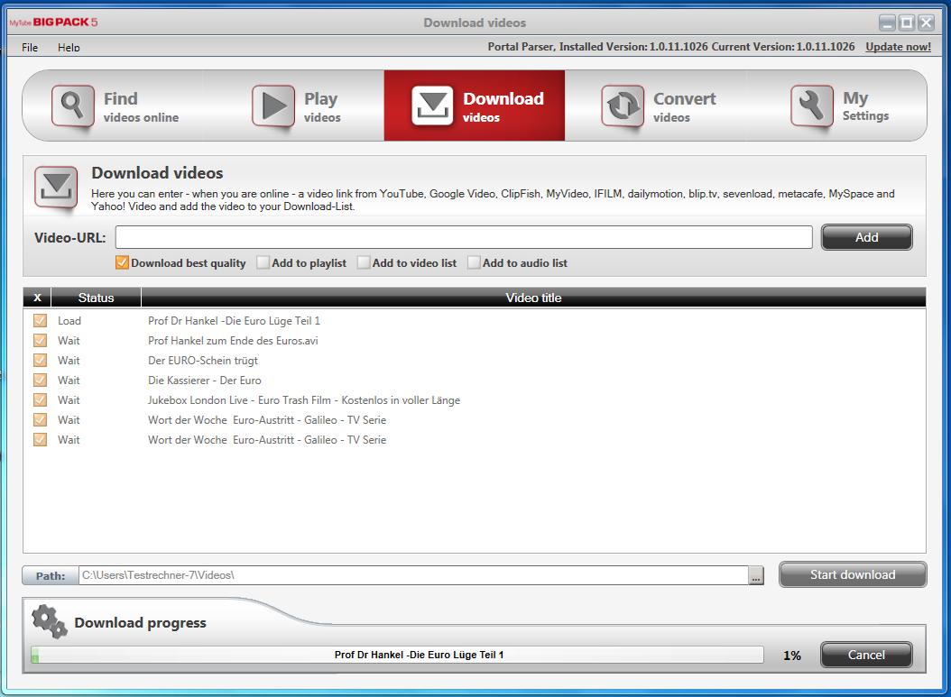 MyTube BigPack, YouTube Downloader Software Screenshot