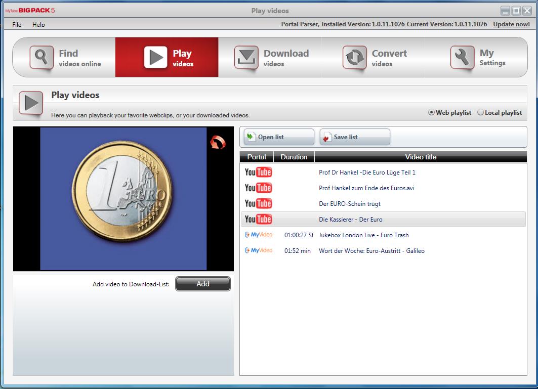 Internet Software, MyTube BigPack Screenshot