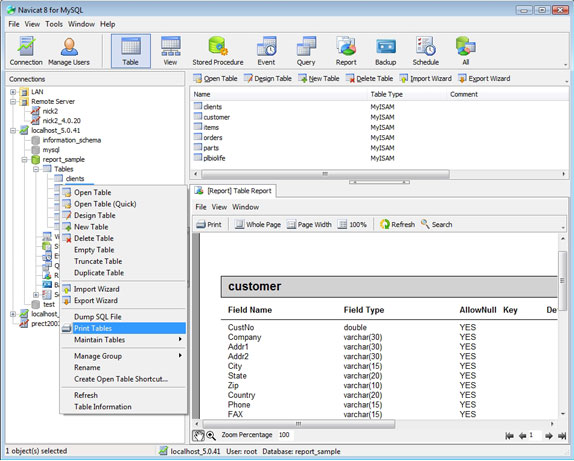 Development Software, Navicat for MySQL Standard Screenshot
