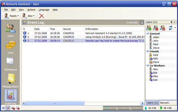 Network Connectivity Software, Network Assistant Screenshot