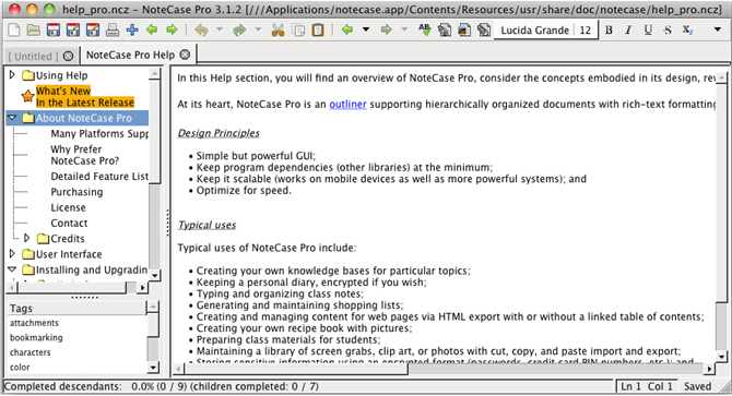 NoteCase Pro, To-Do List Software Screenshot