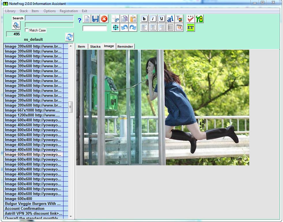 NoteFrog Professional Lifetime License, PIM Software Screenshot