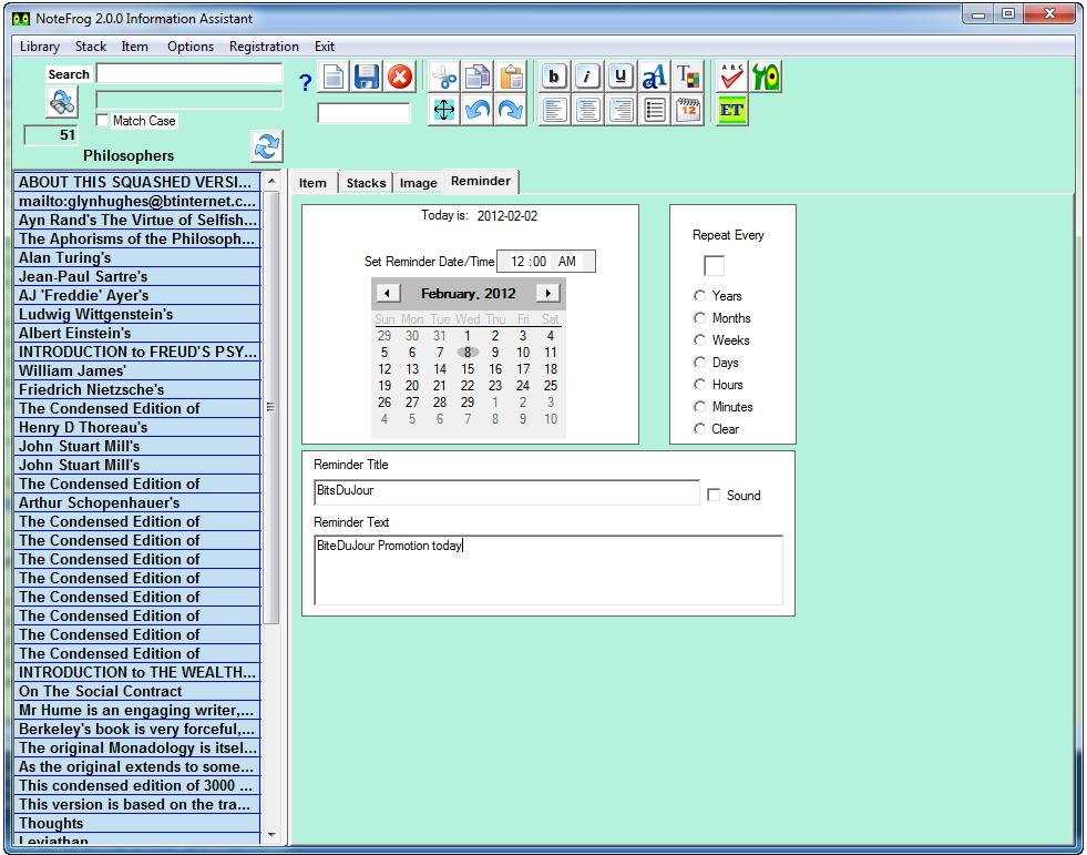 PIM Software, NoteFrog Professional Lifetime License Screenshot