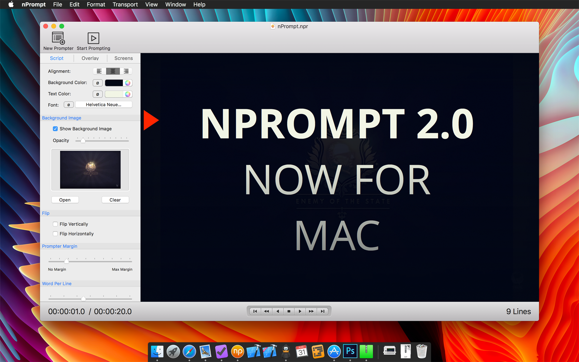nPrompt Teleprompter, Video Software Screenshot