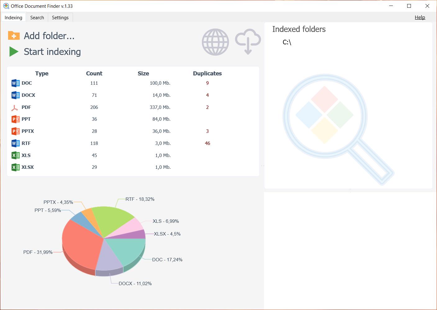Productivity Software, Office Document Finder Screenshot