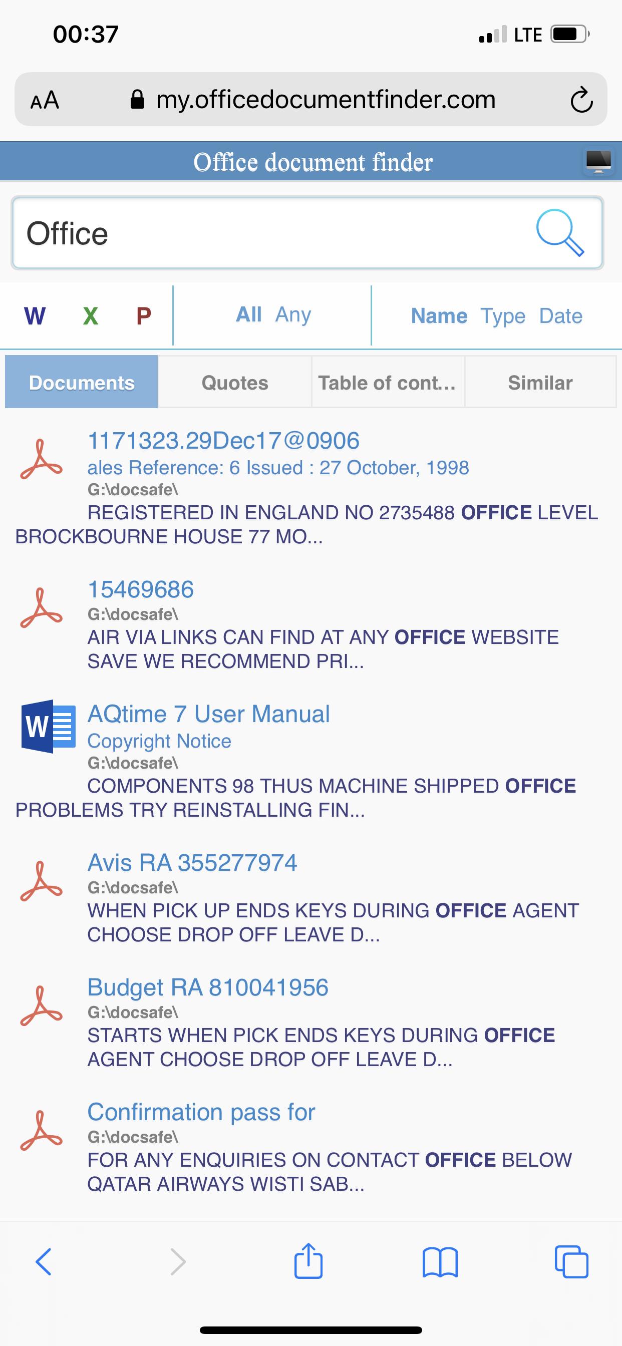 Office Document Finder, Productivity Software, Document Management Software Screenshot