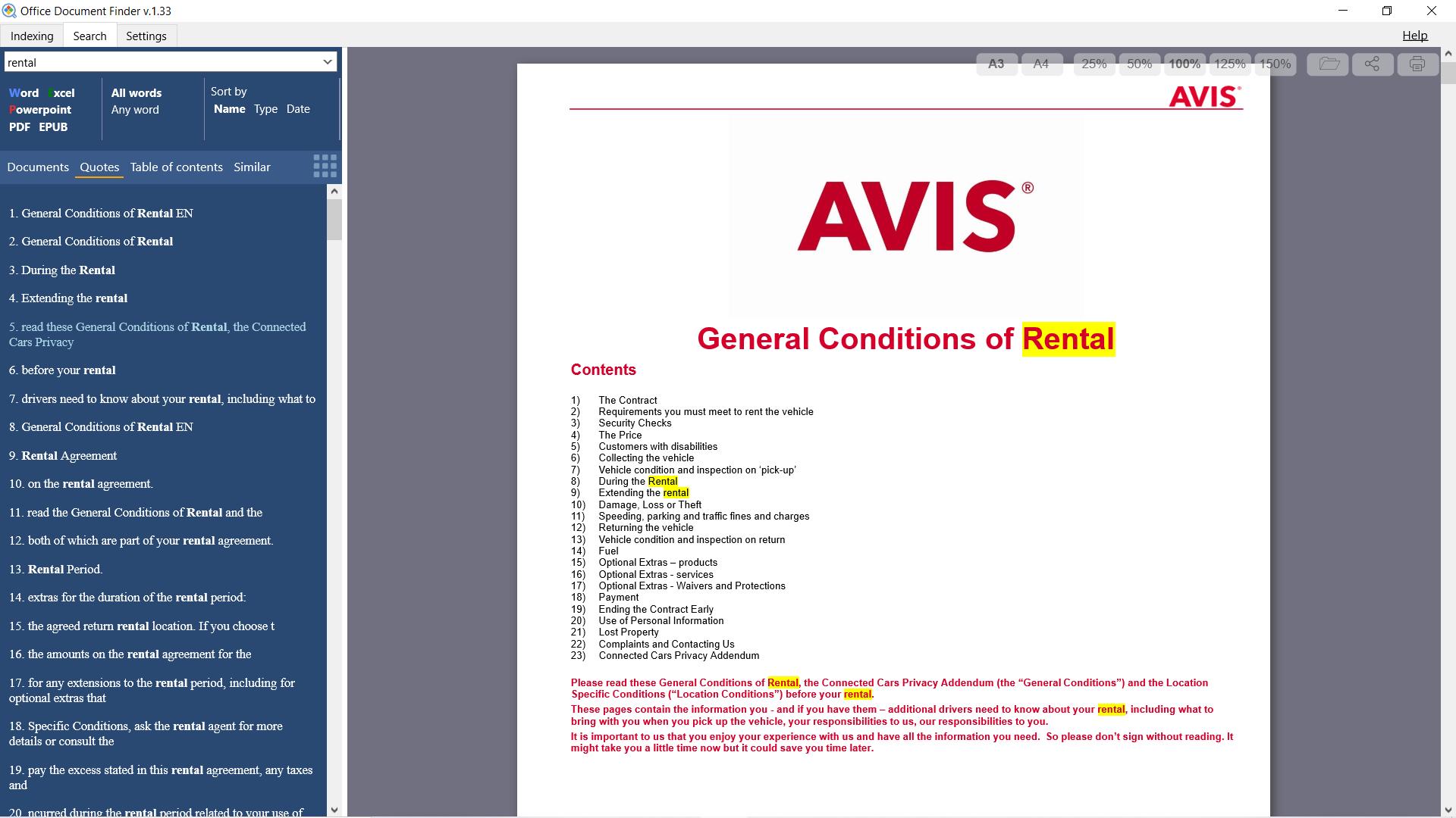 Office Document Finder, Document Management Software Screenshot