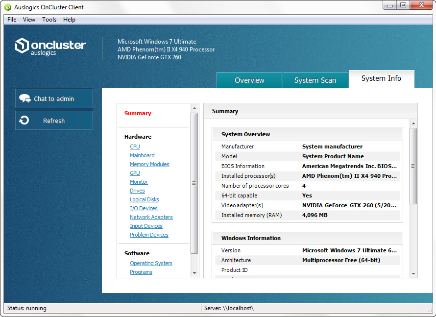 OnCluster, PC Optimization Software Screenshot