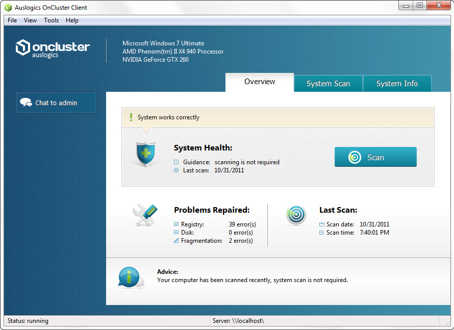 OnCluster Screenshot