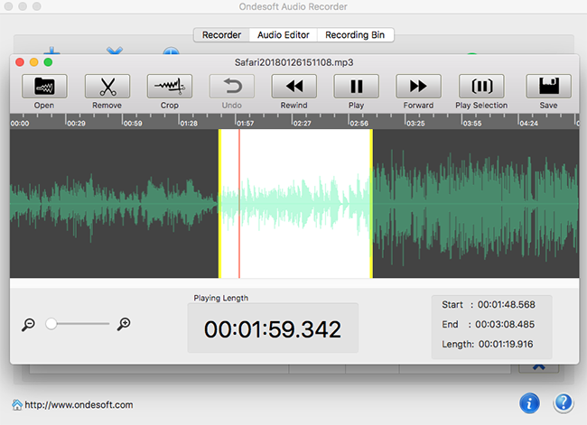 Ondesoft Audio Recorder for Mac, Audio Software Screenshot