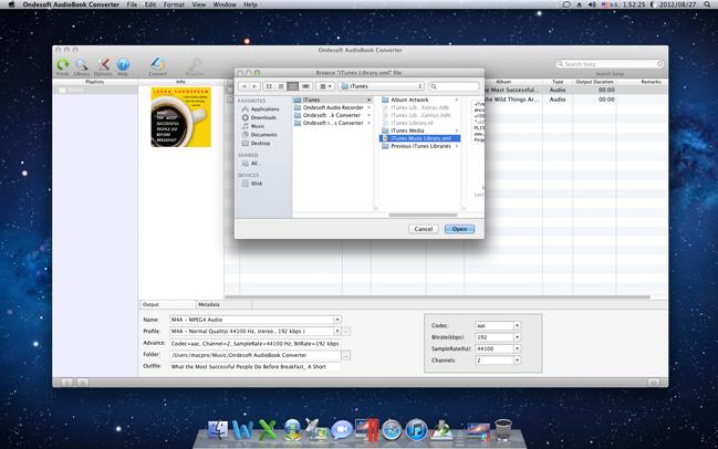 Ondesoft AudioBook Converter for Mac, Audio Conversion Software Screenshot